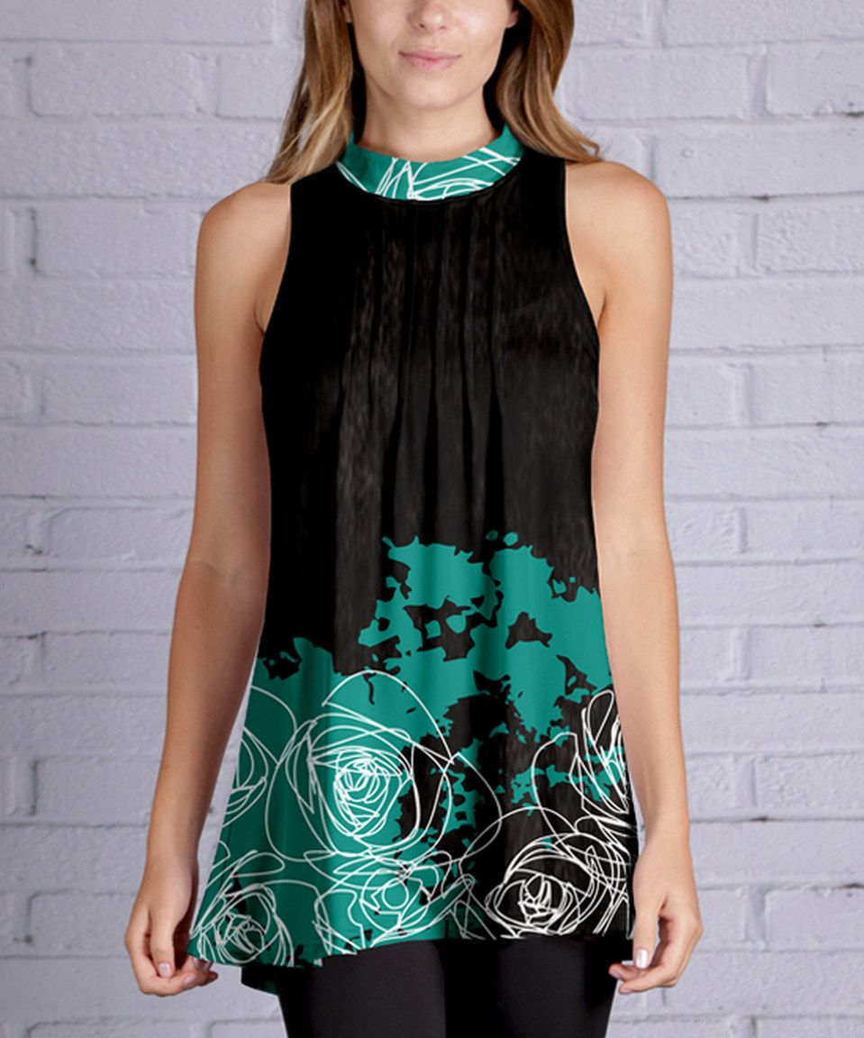 Take a look at this azalea black u teal rose sleeveless tunic plus
