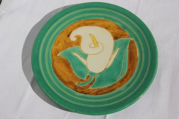 Lovely Lily Hot Plate in Green White Yellow by OurBackRoadsVintage, $12.00