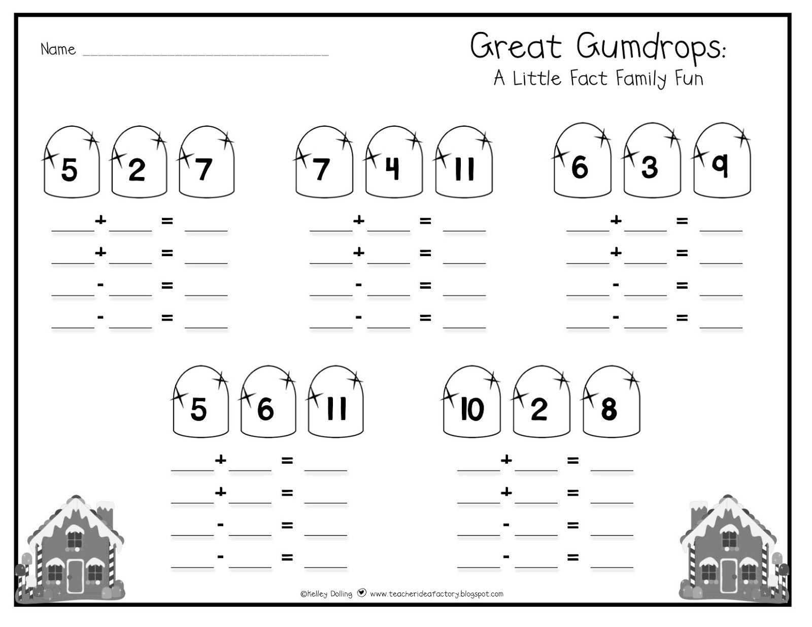 Teacher Idea Factory Fact Fams Gingerbread Style The