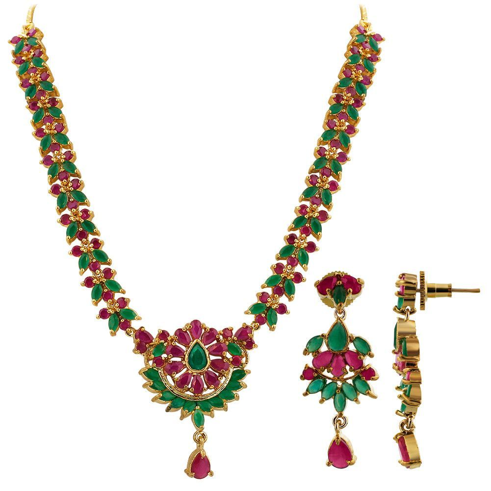Gold Plated Simulated Emerald & Ruby Indian Ethnic Necklace Earrings Set