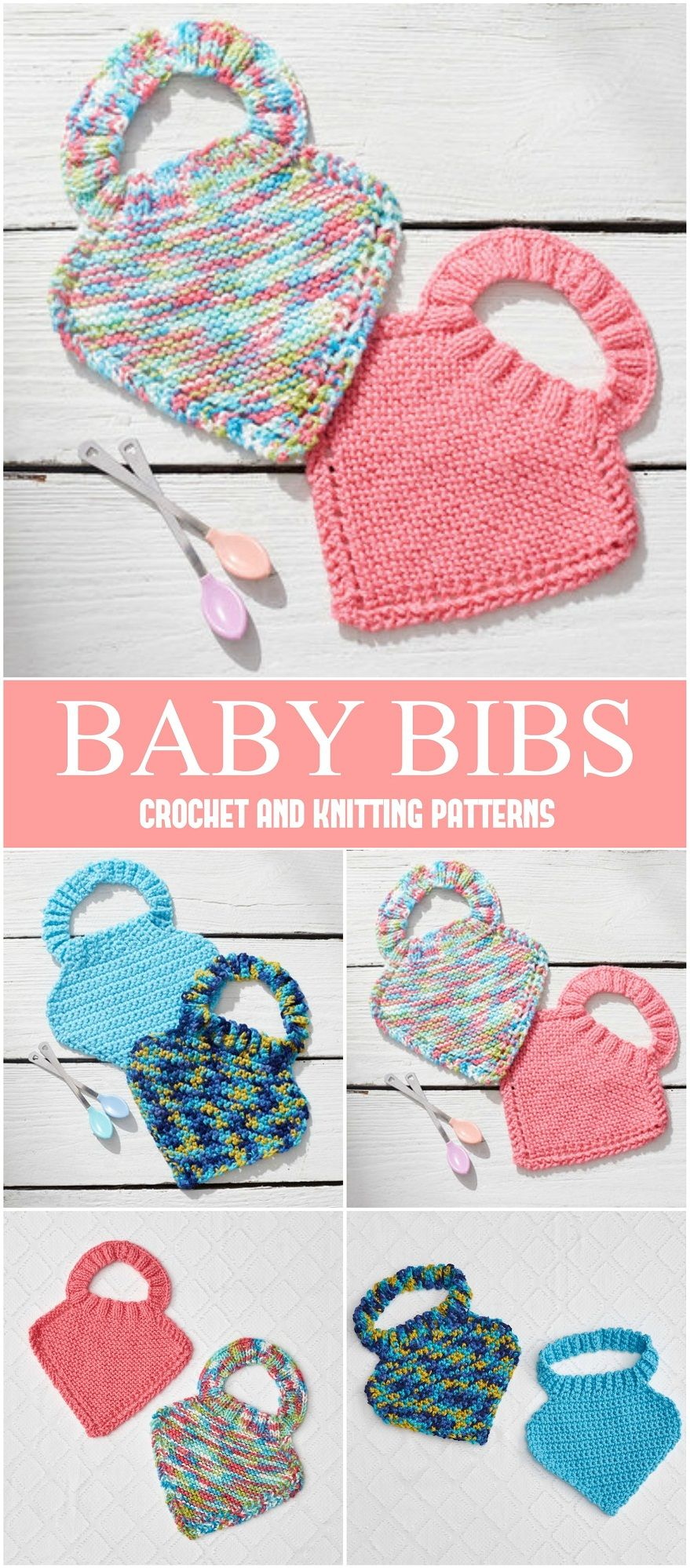 Crochet or Knit Baby Bibs - Free Patterns | Knitting | Pinterest ...