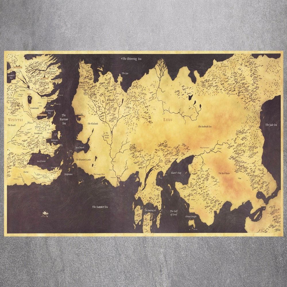 Game of Thrones Map Vintage Retro Posters And Prints Home Decoration ...