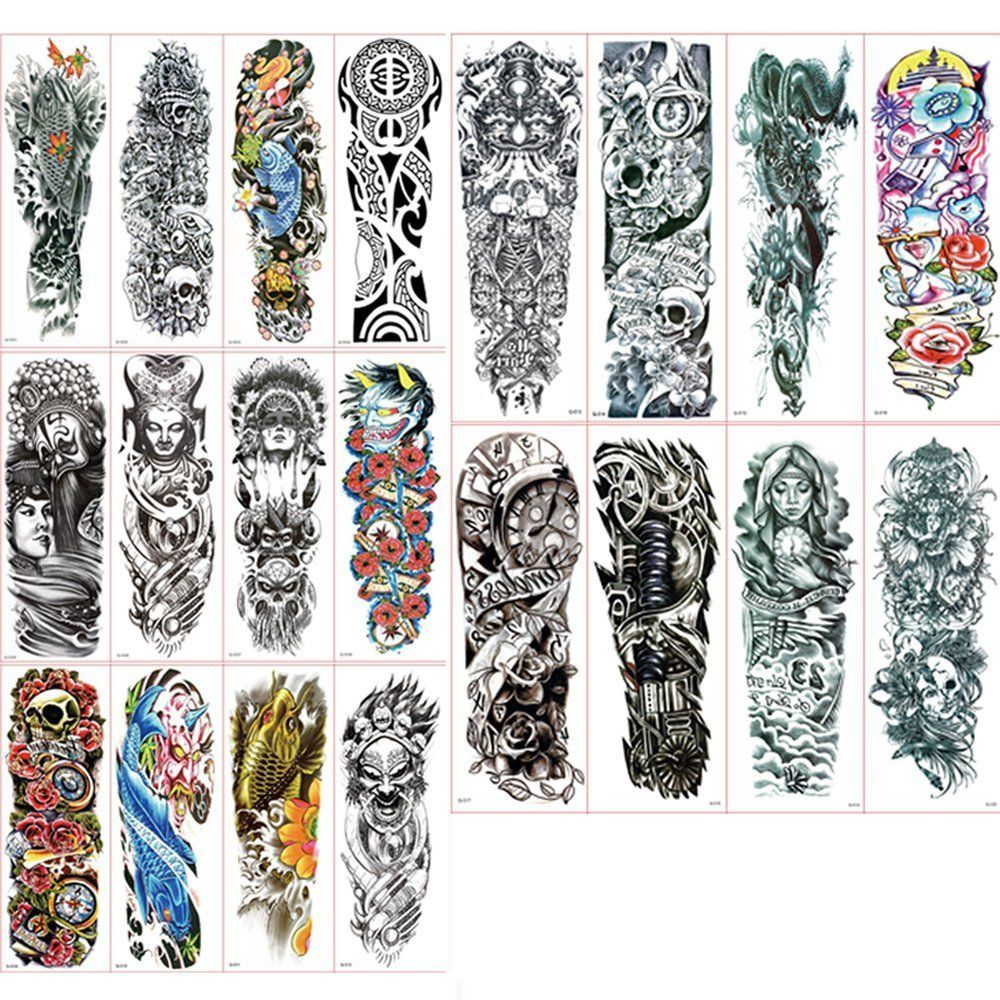 Vkenis 20PCS Full Arm Temporary Tattoos Waterproof Tattoo Stickers 17.73*5.91/45CM*15CM Large Size with Random Gifts (A+B+C+D+E #)
