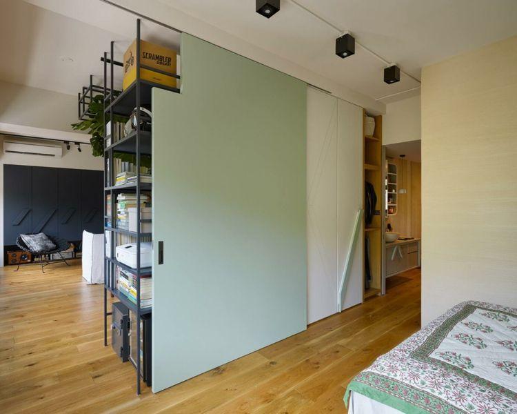 Schiebetüren aus Holz in Mintgrün für das Schlafzimmer ...