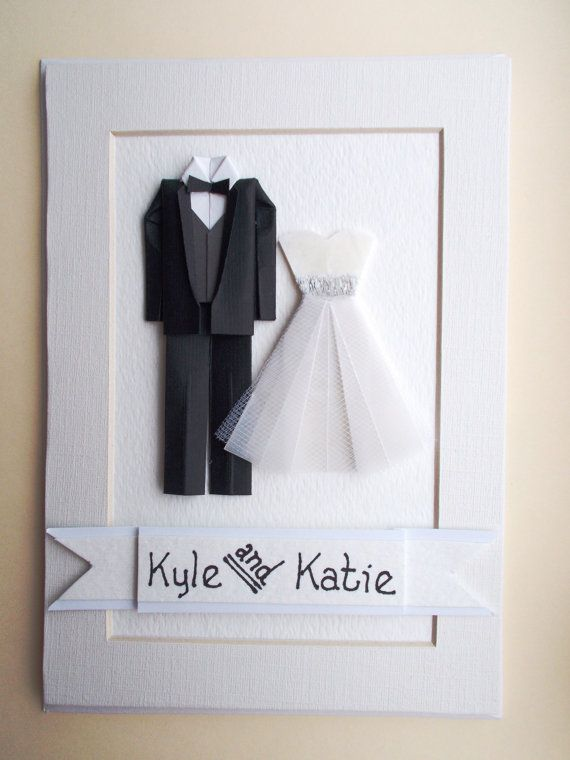 Free Shipping This Weekend Custom Bride And Groom Origami Paper Art By Greetingcardstogift