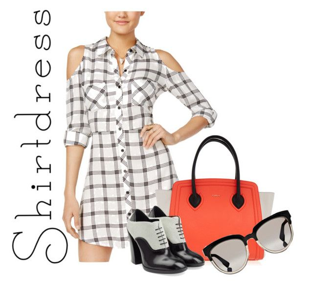 """""""Plaidtastic Shirtdress"""" by ms-oodies on Polyvore featuring Material Girl, Furla, Jil Sander and Christian Dior"""