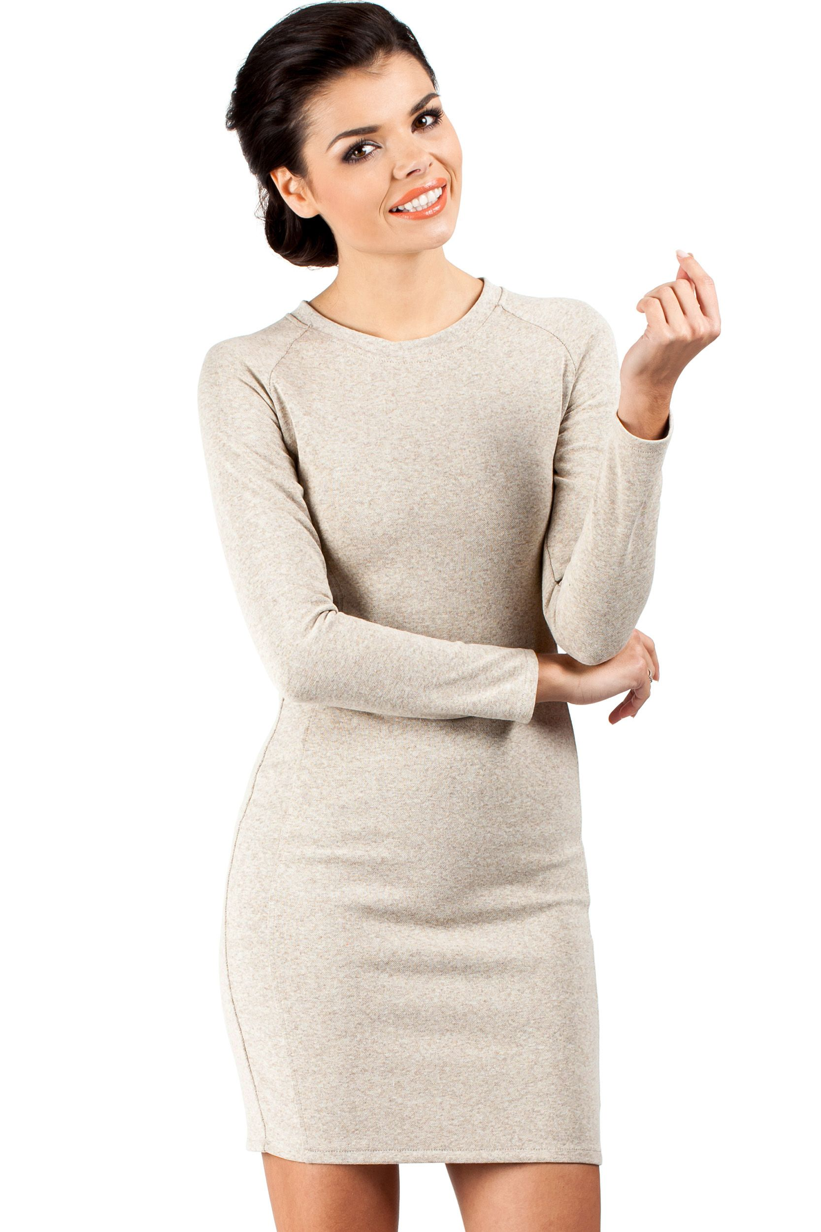 Classic, knee-length, long-sleeved pencil dress with paneled stitching. Exposed, golden zip at the back Unlined. Bodycon fit. Stretch knit. www.dorleta.lt