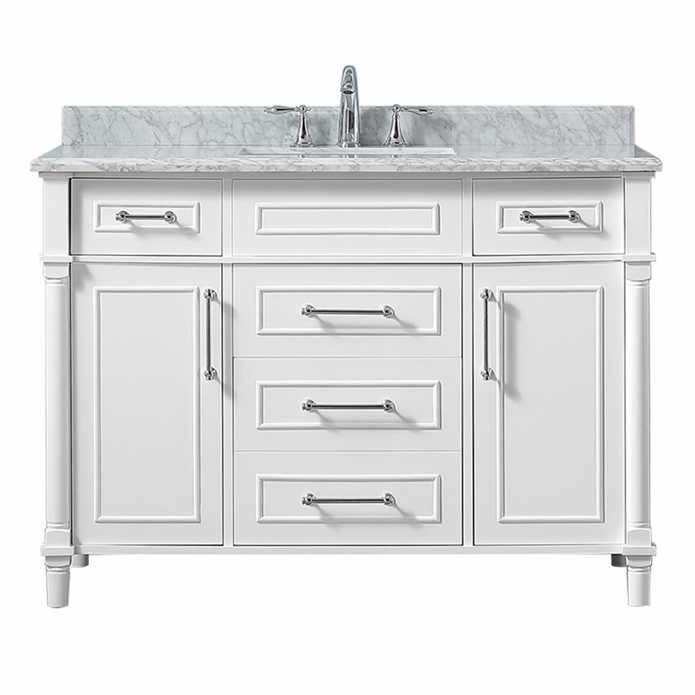 Home Decorators Collection Aberdeen 48 In W X 22 In D Vanity In White With Carrara Marble Top With White Sink Aberdeen 48w The Home Depot Marble Vanity Tops Bathroom Vanity