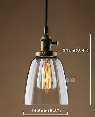 26df859991d5 VINTAGE INDUSTRIAL CAFE GLASS BRASS CHROME PENDANT LAMP SHADE LIGHT FIXTURE