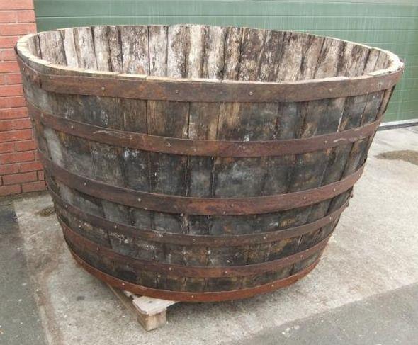 A Fantastic Pair Of Vintage Solid Oak Wooden Barrels/planters. This  Particular Barrel Would