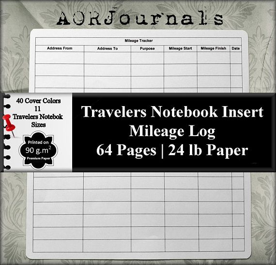 travelers notebook insert mileage record mileage log mileage