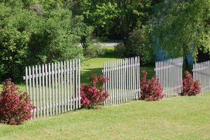 Why the Landscaping Along Your Fence Matters: This homeowner had the idea of landscaping a fence line with shrubs punctuating the hardscape at intervals.