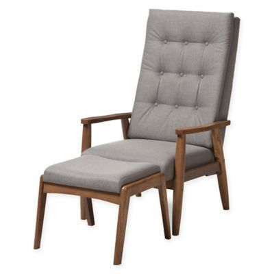 Best Baxton Studio Roxy Chair And Ottoman Set In Grey Walnut 400 x 300