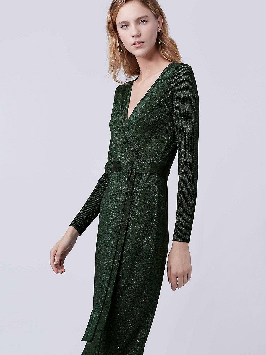 DVF Evelyn Maxi Knit Wrap Dress in Black/green | Fashion ideas ...
