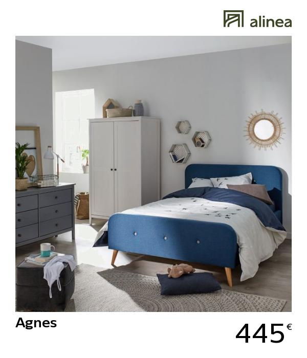 Alinea Agnes Lit 2 Places Bleu En Pin Avec Tête De Lit