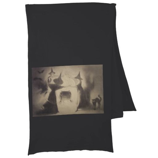 Sepia Witch Bat Night Cauldron Black Cat Scarves