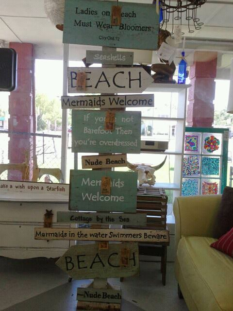 Signs I made for my store De'France Indoor Flea Market Antiques & Collectibles in Ft. Walton Beach Fl.