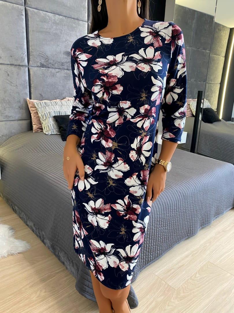Granatowa Sukienka Z Motywem Roslinnym 4887 78 Modnakiecka Pl Dresses With Sleeves Long Sleeve Dress Fashion