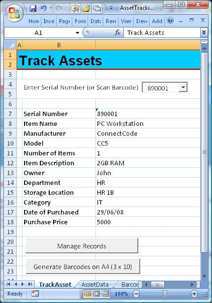 ConnectCode Asset Tracking Spreadsheet is a free Excel Template - inventory excel template free