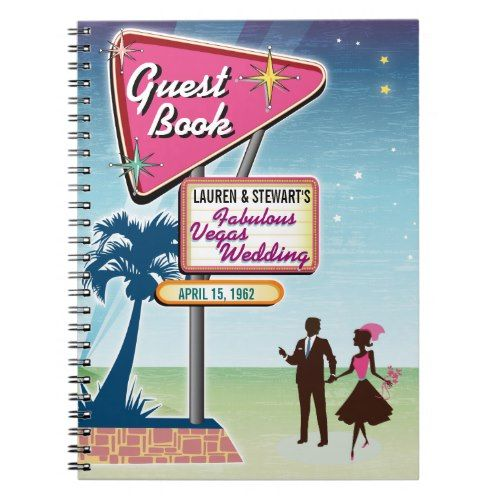 Vintage Las Vegas Wedding Guest Book Template  Modern Wedding
