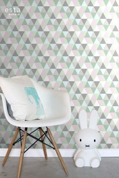 krijtverf vliesbehang driehoekjes roze, mint en grijs | Slaapkamer ...