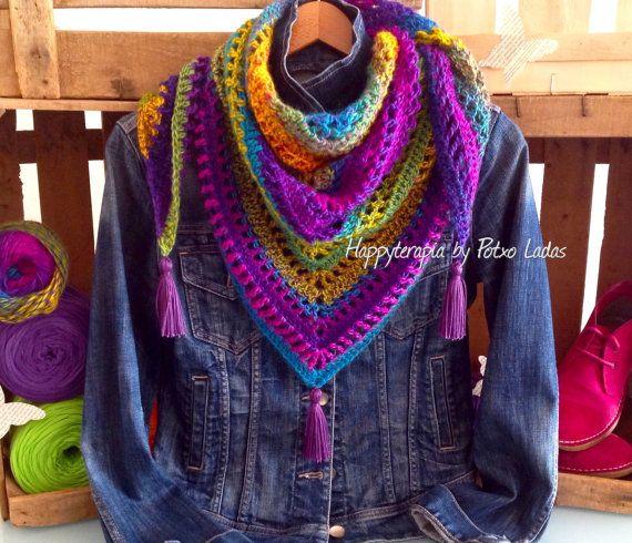 Patrón/ Tutorial CHAL CALADO crochet. por PotxoLadas en Etsy ...