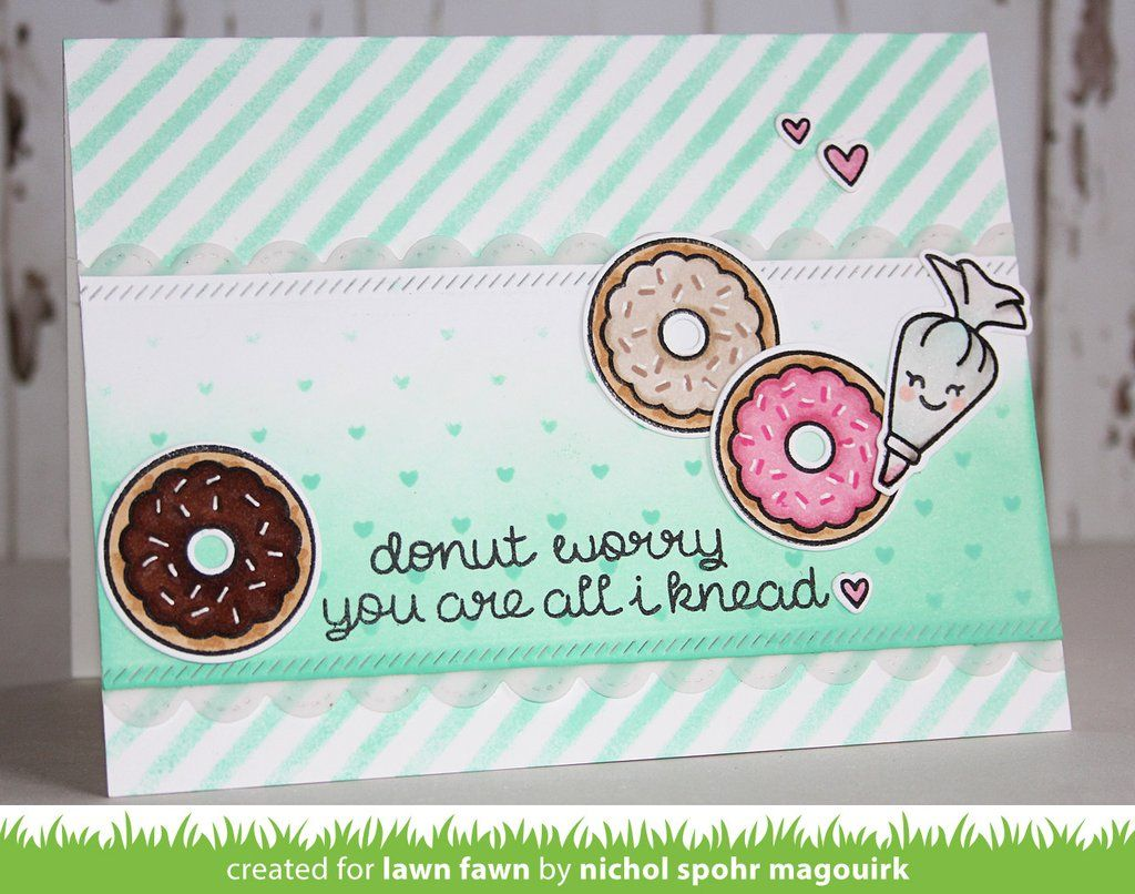 Donut worry! You will be happy crafting with this mini set of clear stamps. Make a cute donut topped with yummy sprinkles, and a cute smile! Coordinating Lawn C
