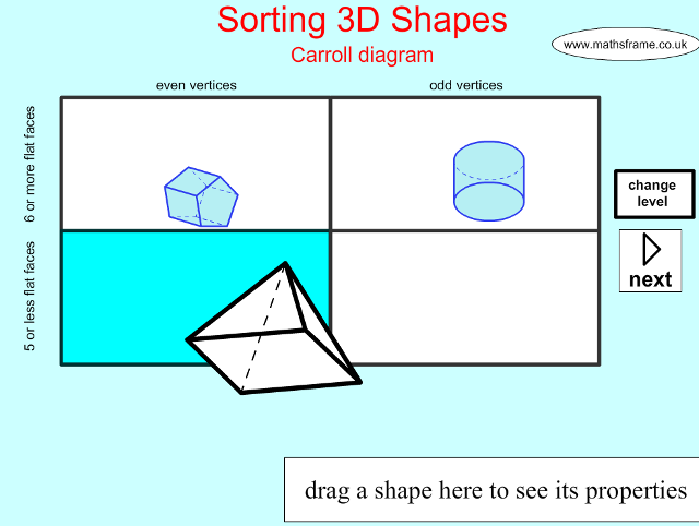 Sorting 3d Shapes On A Carroll Diagram Shape Space 3d Objects