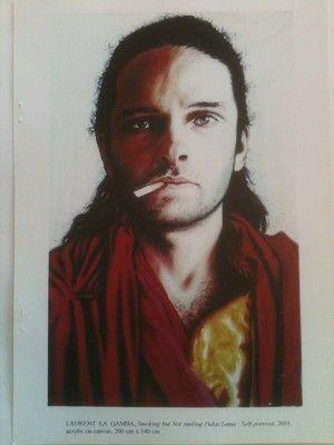 Laurent La Gamba Self portrait as a Tibetan monk. Acrylic on Canvas