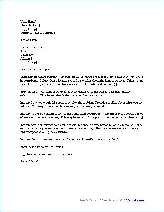 Complaint Template Letter Thank You Letters For Word Sample Sample Letter  Templates Resume Samples Letter Complaint  Civil Complaint Template