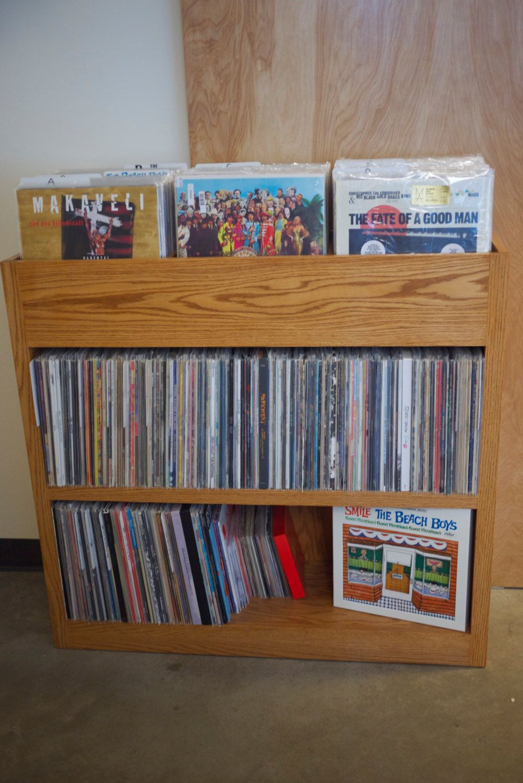 Custom built record shelf with images record shelf