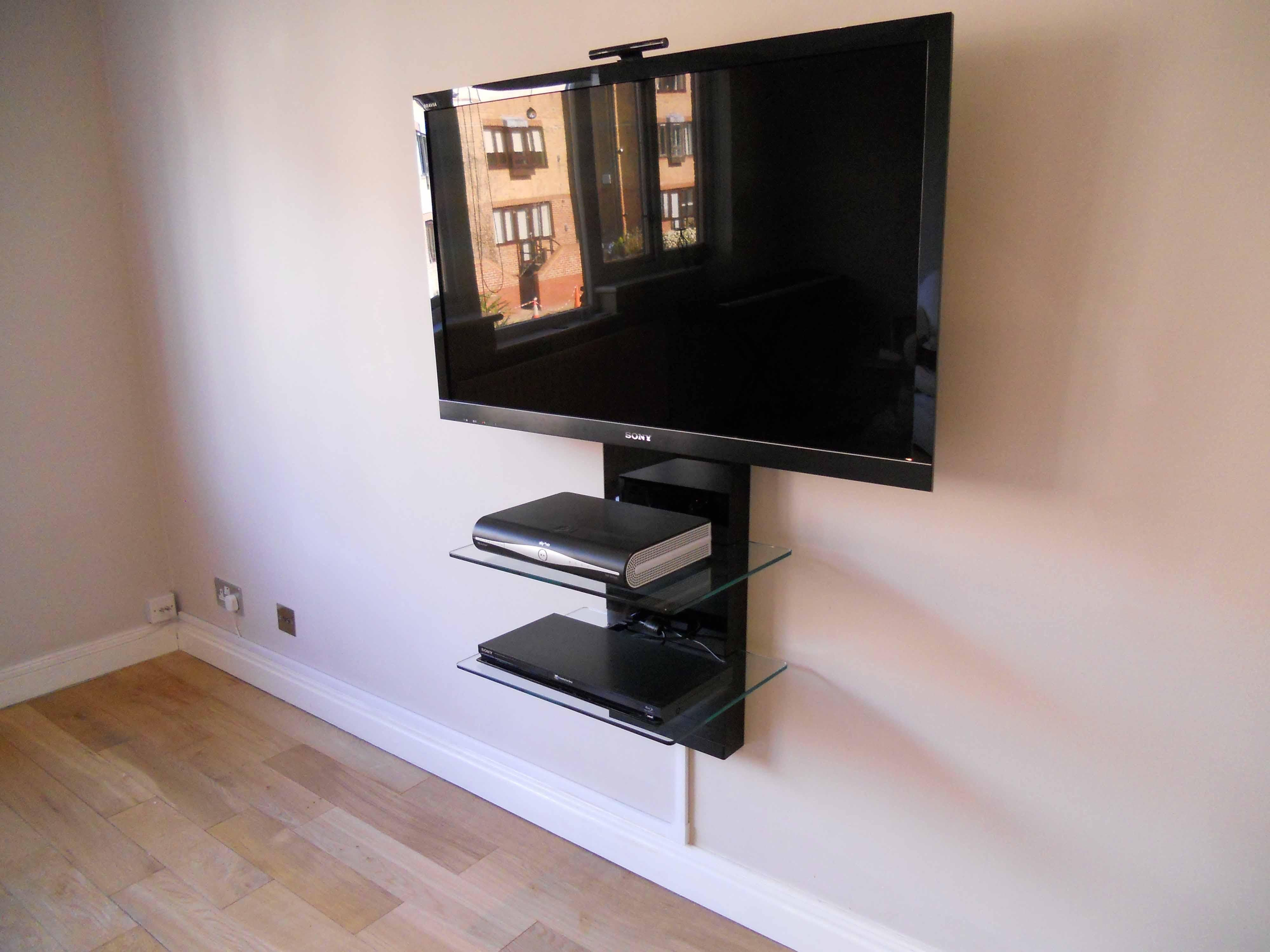 Corner Tv Wall Mount Bracket With Shelf Wall Mounted Shelves Tv Wall Shelves Wall Mounted Tv