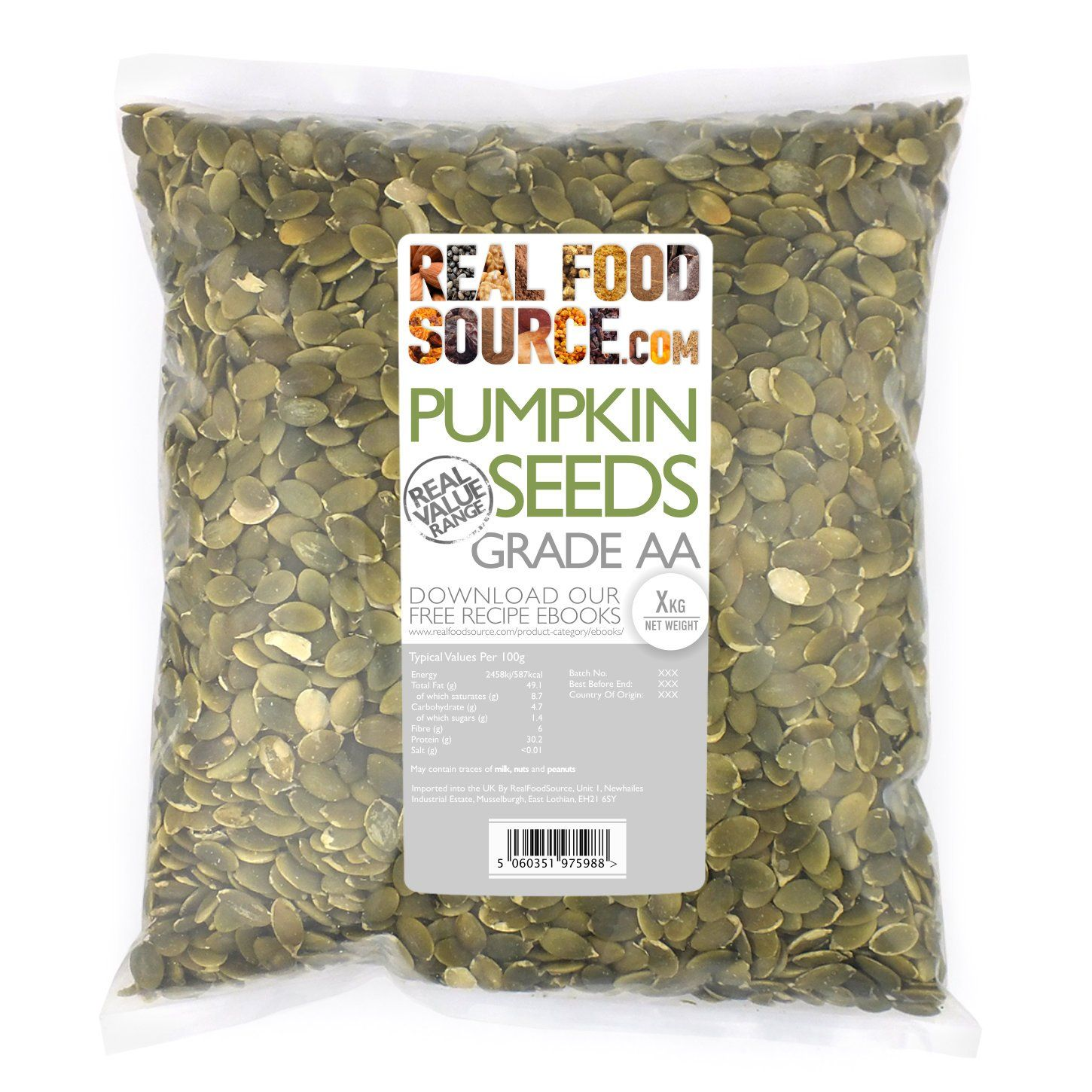 Realfoodsource Pumpkin Seeds Grade Aa 1kg Amazon Co Uk Amazon