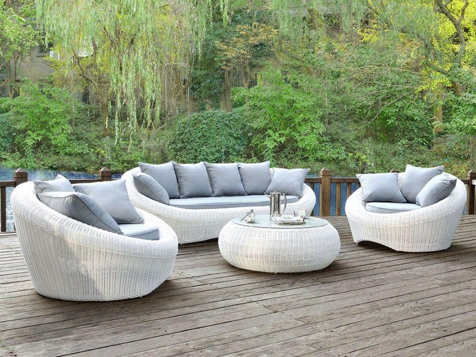 Canapé 3 places de jardin WHITEHEAVEN en résine tressée ...