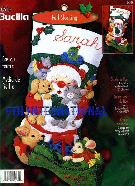Bucilla Christmas Hugs 18 Felt Stocking Kit 84589 Santa Animals
