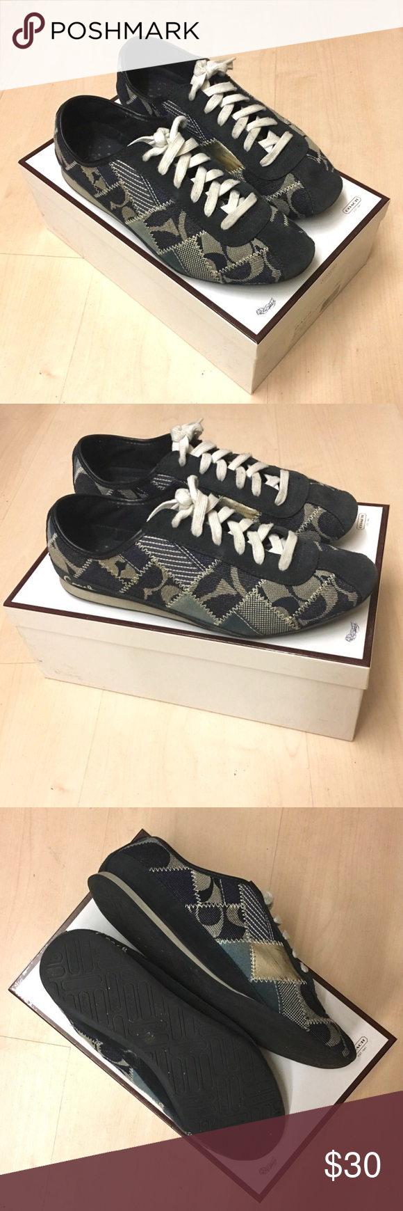 COACH Patchwork Sneakers (Size 9M) Coach Tidy Signature Patchwork Sneakers in Navy in size 9M with Box Coach Shoes Sneakers