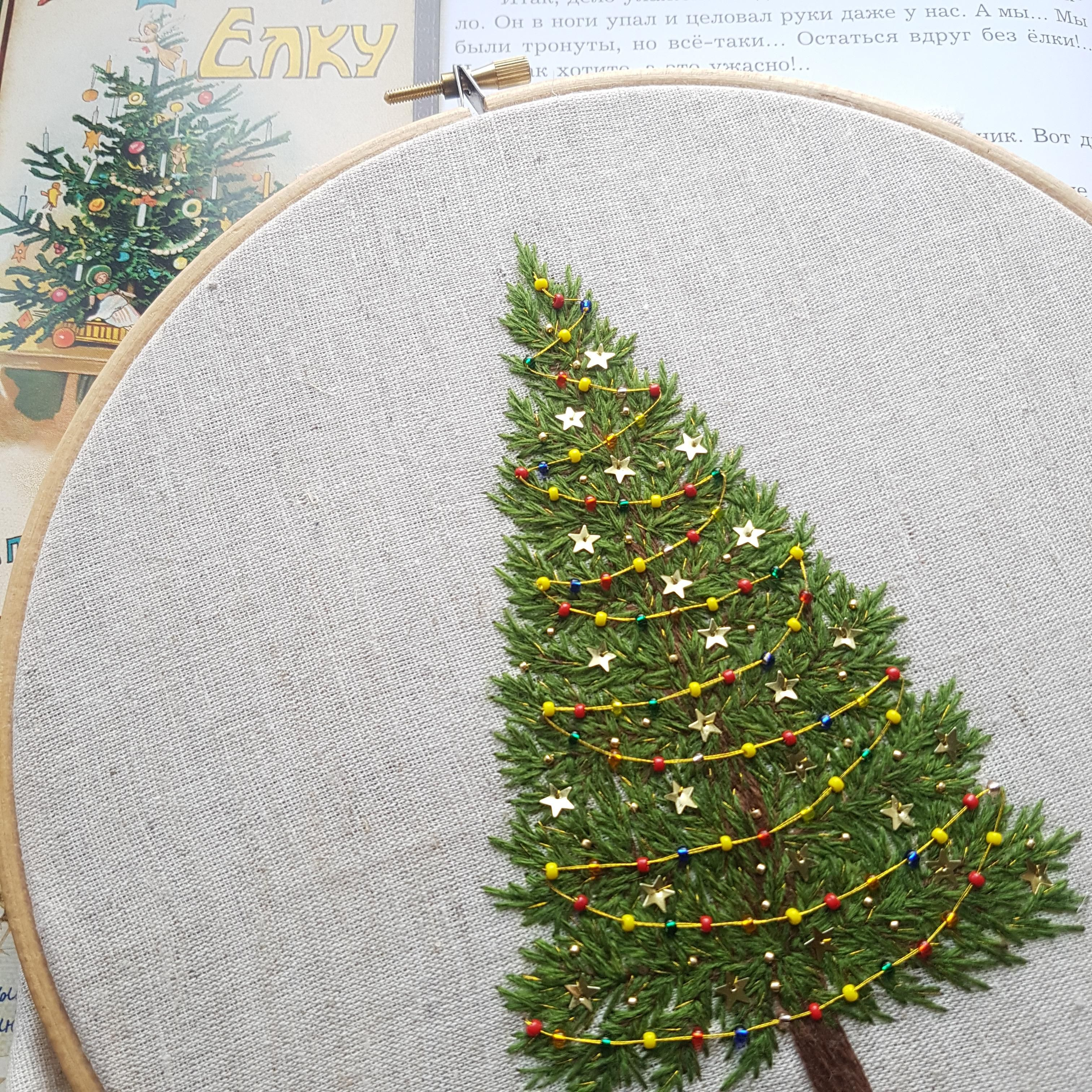 Another Christmas Tree In Process Can T Stop Making Them Crafts Christmas Embroidery Christmas Embroidery Patterns Hand Embroidery Art