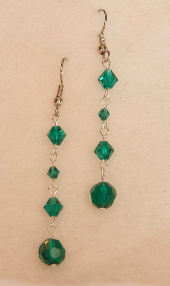 Emerald Swarovski Crystal Earrings by HandmadeWLove478 on