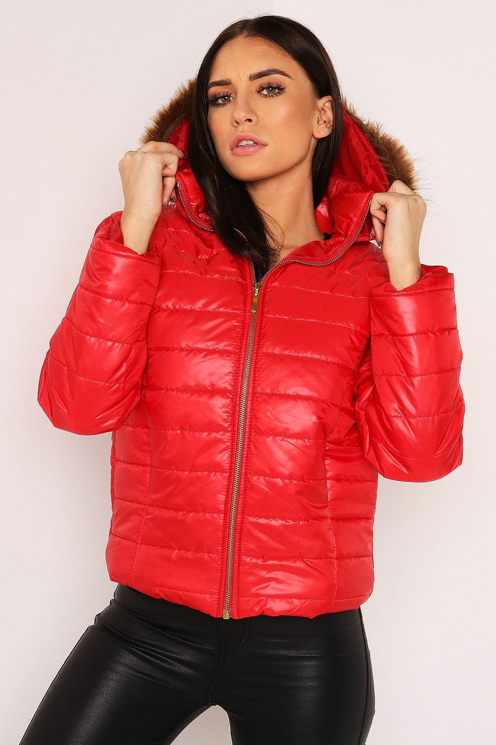 Red Puffer Jacket With Faux Fur Hood Lasula [ 1500 x 1000 Pixel ]