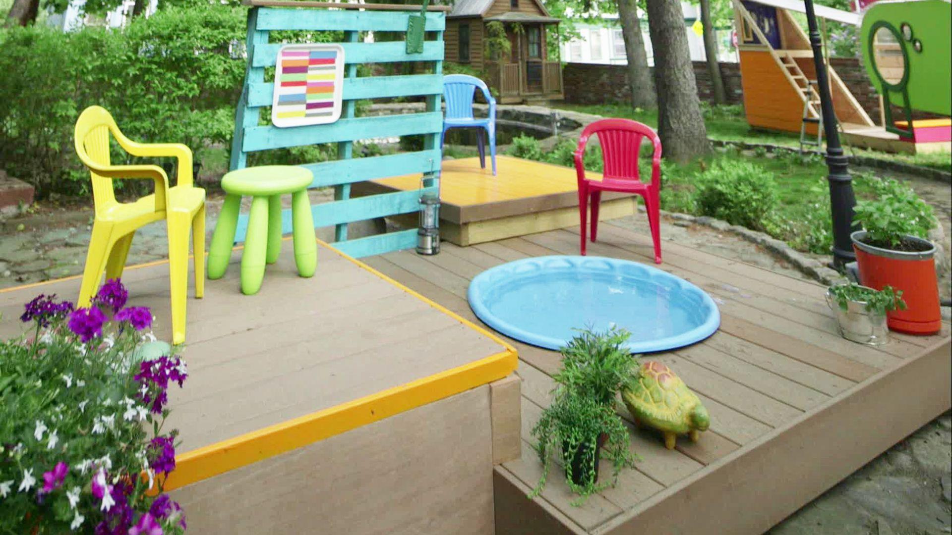 Build a deck around a small kiddie pool. Backyard play