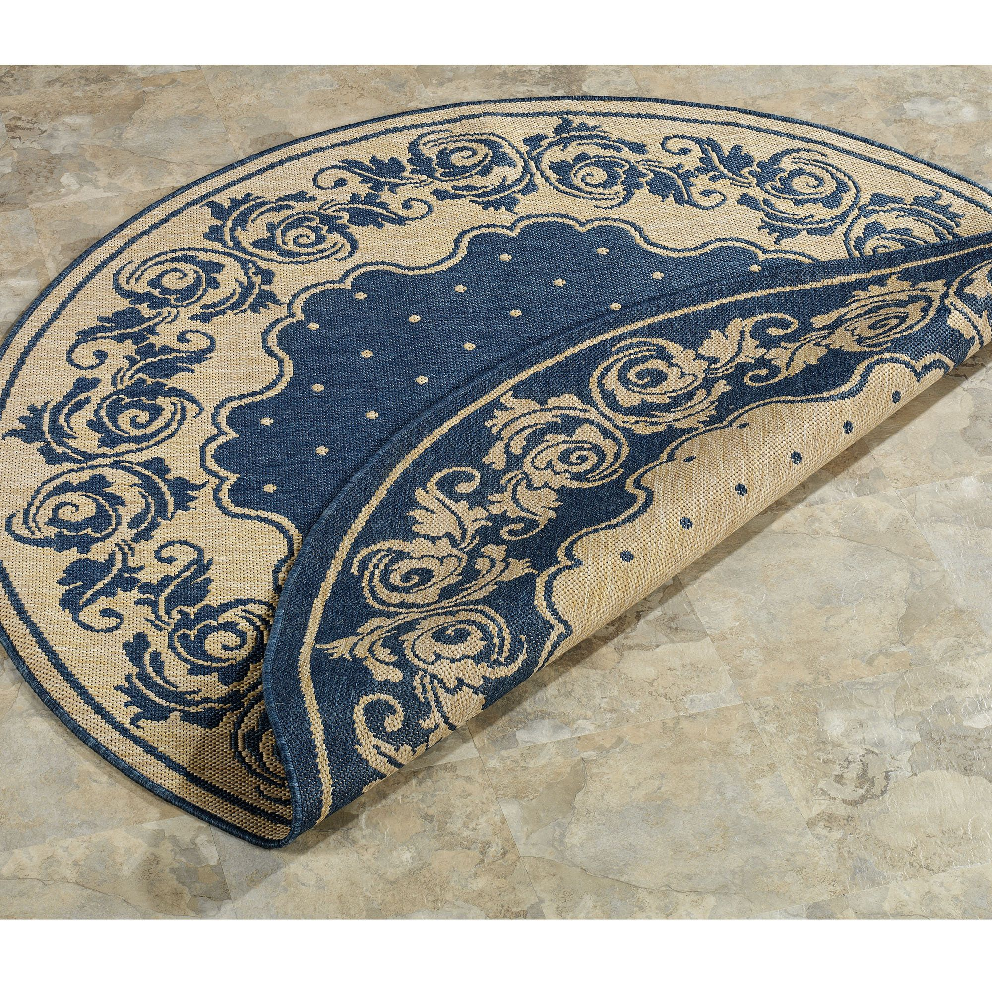 image of: blue round indoor outdoor rugs | round outdoor rugs