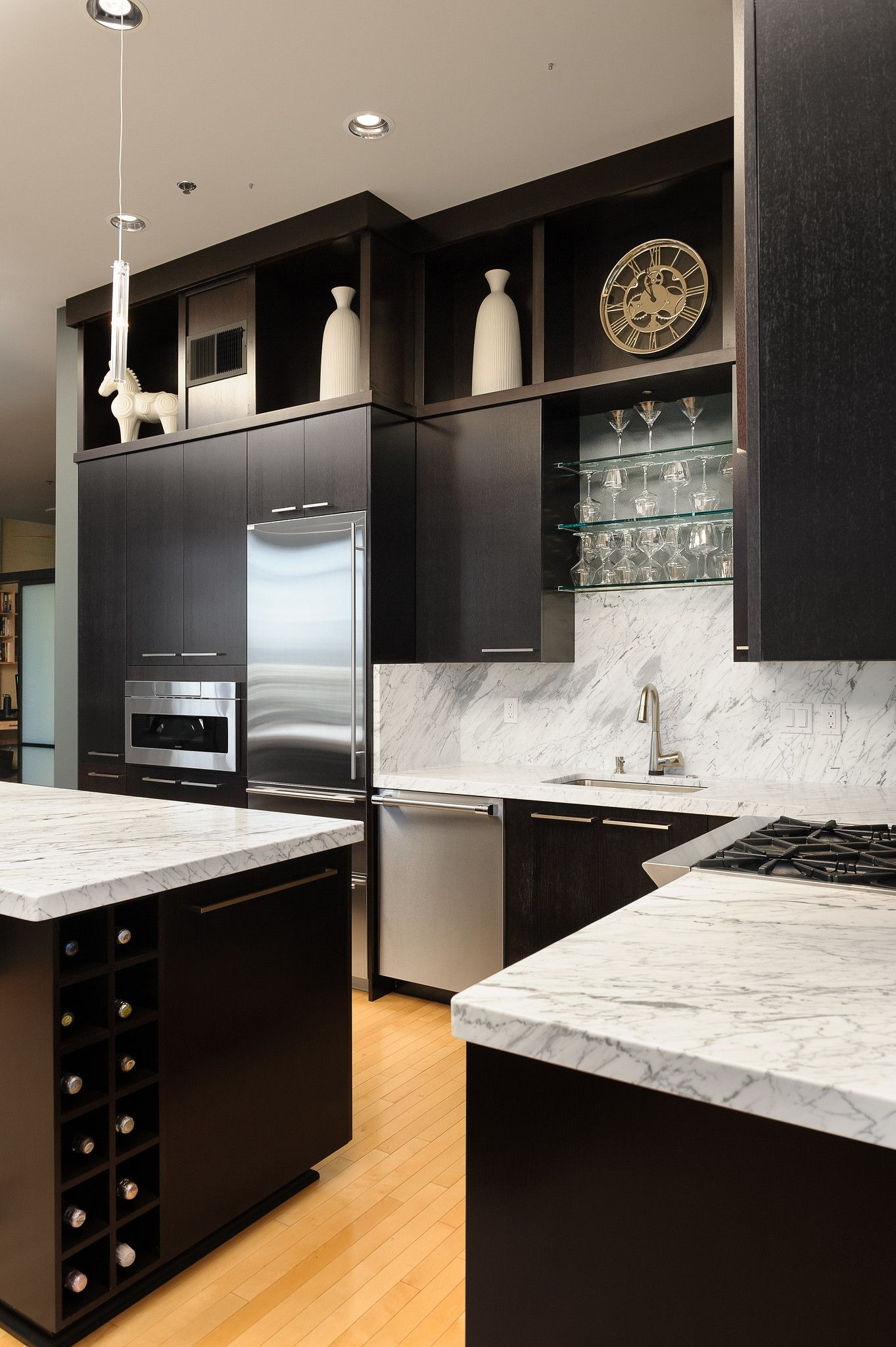 Modern Contemporary Condo Kitchen Remodel In Portland Oregon In 2020 Condo Kitchen Remodel Kitchen Remodel Built In Wine Rack