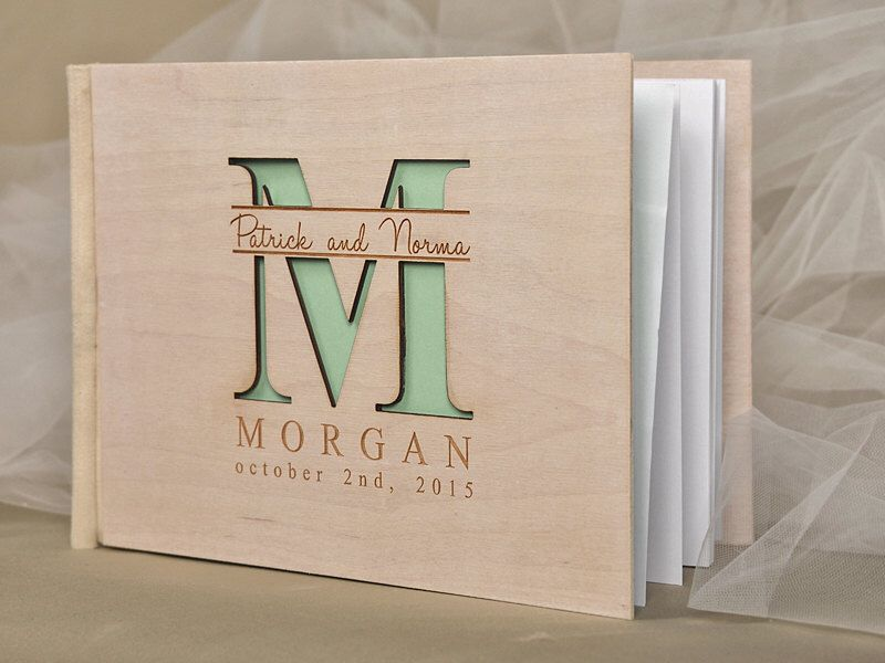 Custom Wood, Wooden Wedding Guest Book, Modern Mongram Guestbook, Laser Engraved Names Bride and Groom by forlovepolkadots on Etsy https://www.etsy.com/listing/204000454/custom-wood-wooden-wedding-guest-book