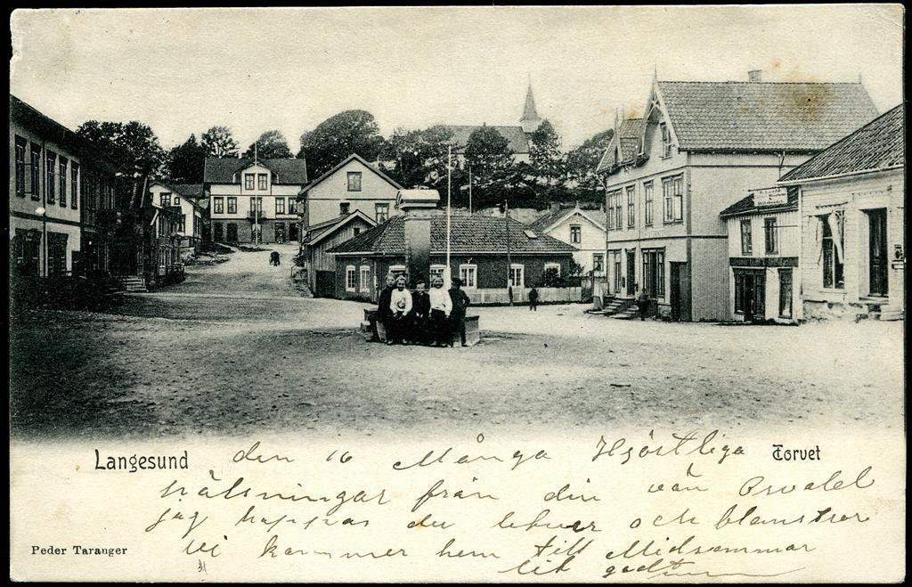 Telemark fylke Bamble kommune Langesund Torvet brukt 1906 Utg Peder Taranger