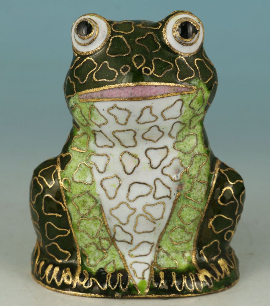 Lucky Chinese Old Cloisonne Collection Handmade Carved Frog  Statue Decoration