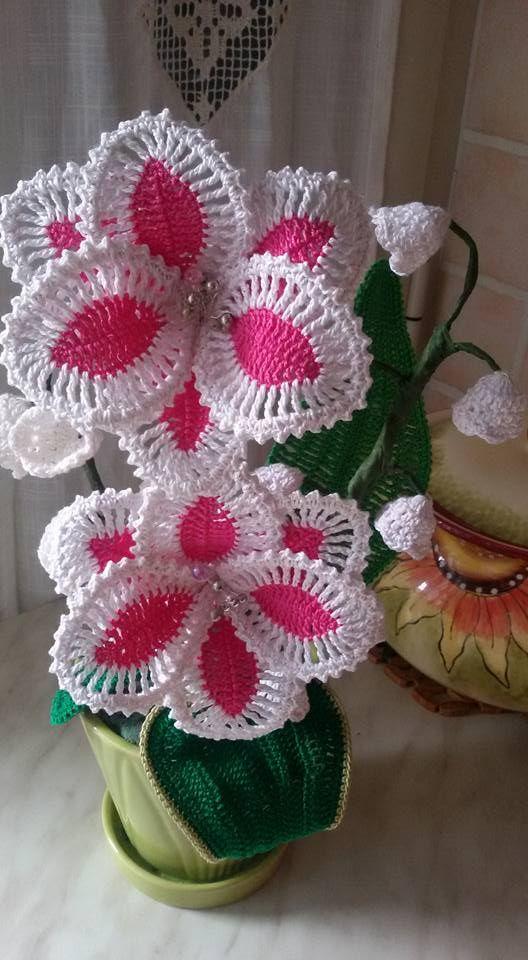 flor de croche | tejido crochet | Pinterest | gehäkelte Blumen ...