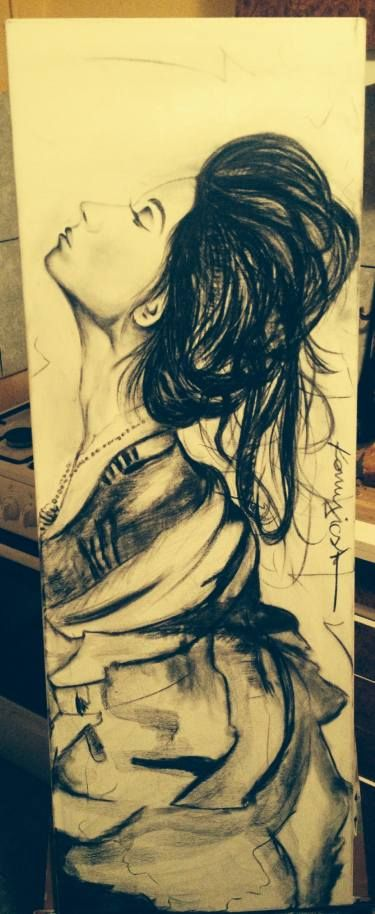 "Saatchi Art Artist Konyicska Csaba; Drawing, ""The charchoal queen "" #art"
