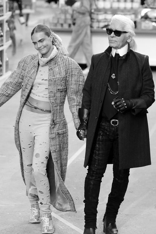 Cara & Karl at Chanel - Fashion Week 2014