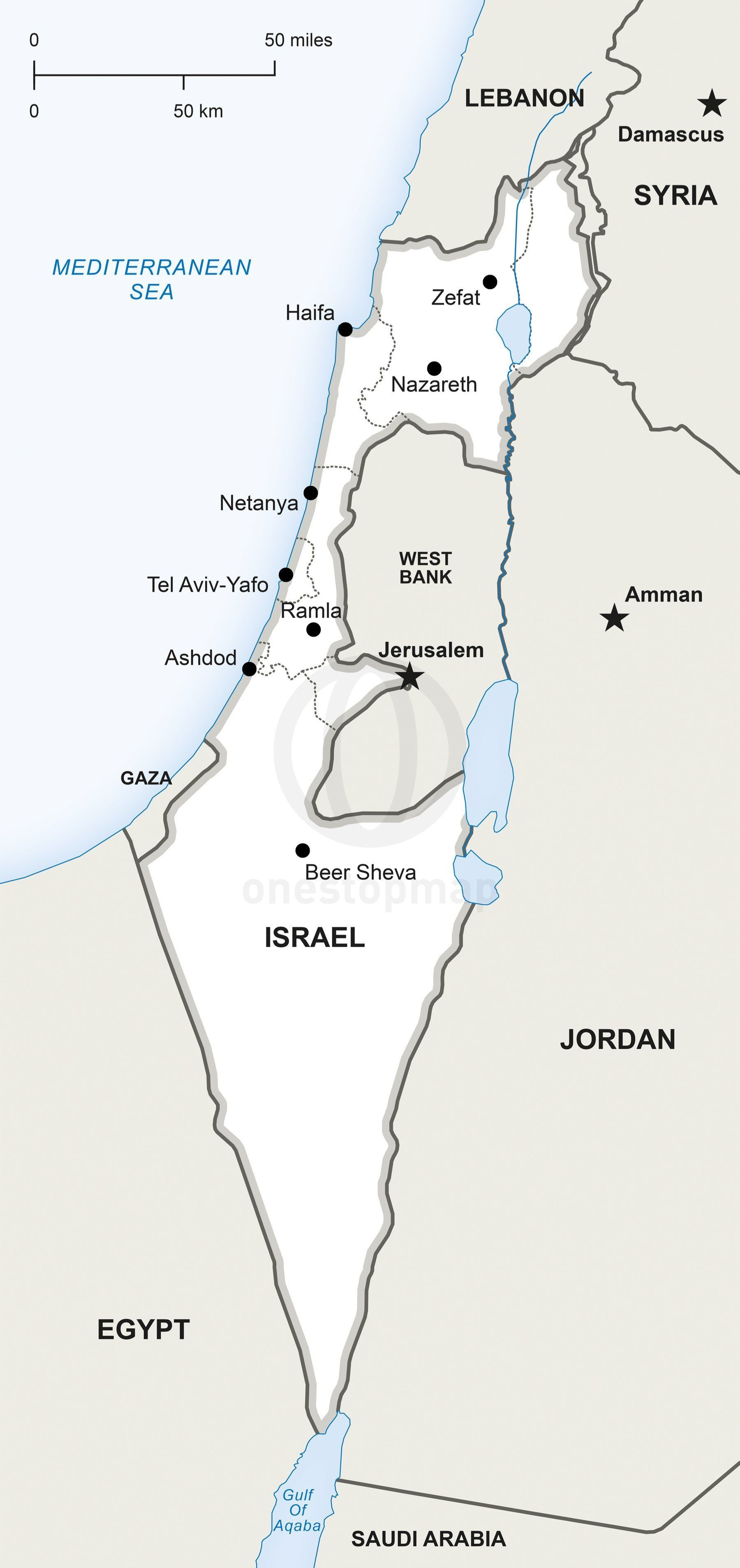 Vector Map of Israel political in 2018 | Maps | Pinterest | Israel ...