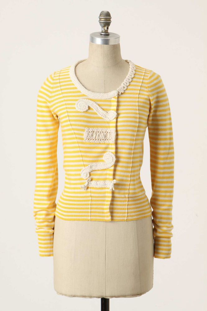 Anthropologie Loose Lines Cardi Sz XS, Yellow Cotton Striped ...